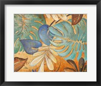 Gold and Aqua Leaves I Framed Print