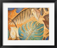 Gold and Aqua Leaves I Framed Print
