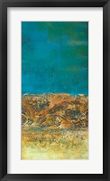 Rustic Frieze on Teal I Framed Print