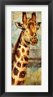 New Safari on Teal I Framed Print