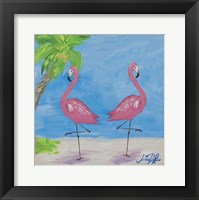 Framed Fancy Flamingos IV