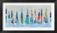 Framed Dozen Colorful Boats Panel