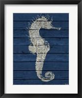 Antique Seahorse on Blue I Framed Print