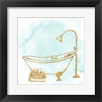 Le Tub on Teal II Framed Print