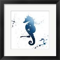 Framed Seahorse Splatter Indigo