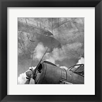 Framed Vintage Planes Maps BW