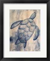 Framed Blue Sea Turtle