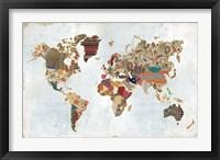 Framed Pattern World Map