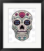 Sugar Skull II on Gray Framed Print