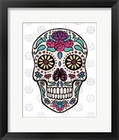 Framed Sugar Skull III on Gray
