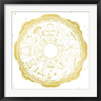 Framed Night Sky Zodiac White and Gold