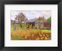 Framed Pumpkins And Cornstalks