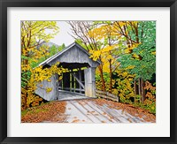 Framed Vermont Bridge In Fall