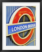 Framed London Bridge Underground Sign