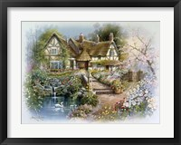 Framed Cottage Scene With Swan