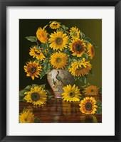 Framed Sunflowers In A Peacock Vase