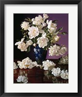 Framed White Peonies in Blue Chinese Vase