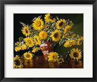 Framed Sunflower in a Red Chinese Vase