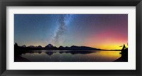 Framed Northern Lights over Jackson Lake Pano
