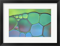 Framed Lime Green and Blue Stained Glass