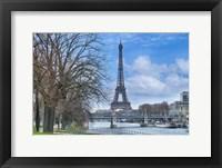 Framed Eiffel Tower, Ile des Cygnes and Seine Paris