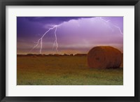 Framed Lightning Over Hay Fields
