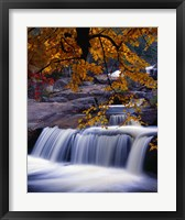 Framed Waterfall Over the Rocks in Fall