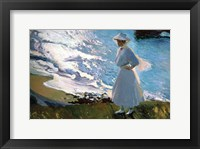 Framed Lady in White on Beach in Biarritz France