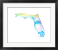 Framed Florida State Watercolor