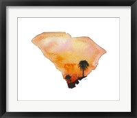 Framed South Carolina State Watercolor
