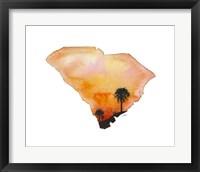 Framed South Carolina State Watercolor