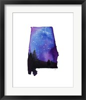 Framed Alabama State Watercolor