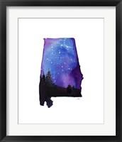 Framed Alabama State Watercolor