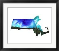 Framed Massachusetts State Watercolor