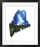 Framed Maine State Watercolor