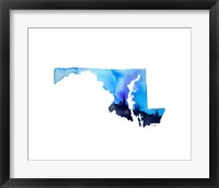 Framed Maryland State Watercolor