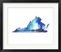Framed Virginia State Watercolor