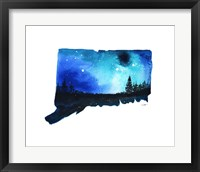 Framed Connecticut State Watercolor