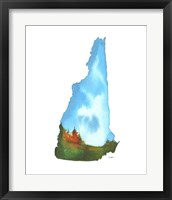 Framed New Hampshire State Watercolor