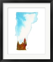 Framed Vermont State Watercolor