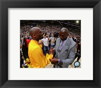 Framed Kobe Bryant & Magic Johnson before Bryant's final NBA game-Staples Center- April 13, 2016