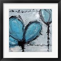 Framed Fleurs Turquoise