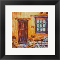 Framed Old Brown Door and Window