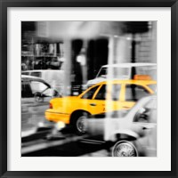 Framed Yellow Taxi Reflection
