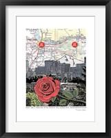 Framed Mt. Hood and Portland Skyline with Rose