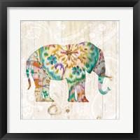 Boho Paisley Elephant I Framed Print