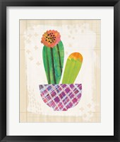 Collage Cactus II on Graph Paper Framed Print