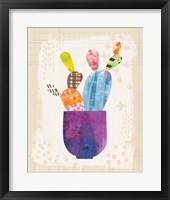 Collage Cactus III on Graph Paper Framed Print
