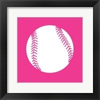 Framed White Softball on Pink