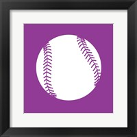 Framed White Softball on Violet